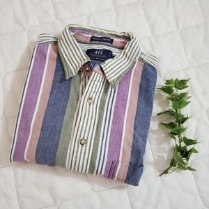 417 by Van Heusen Multicolored Stripe Button Up